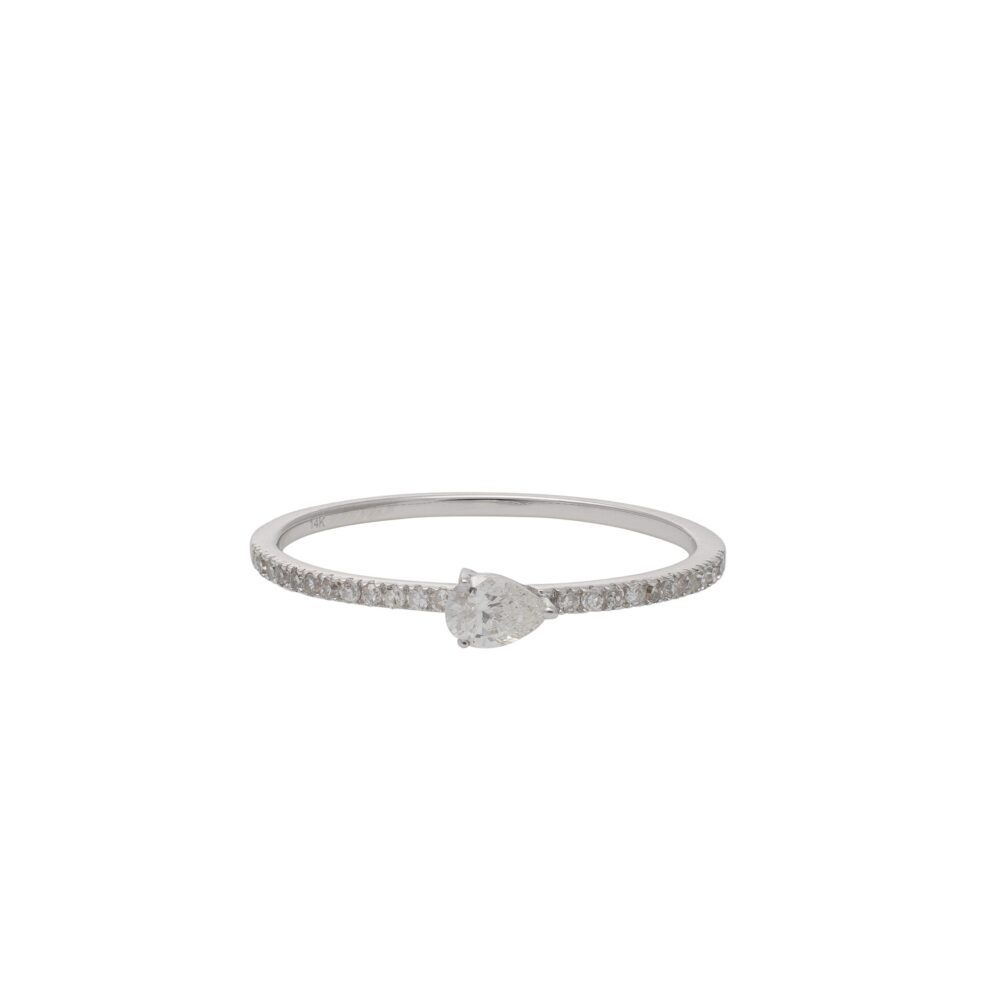 Diamond + Pear Horizontal Stacking Band White Gold