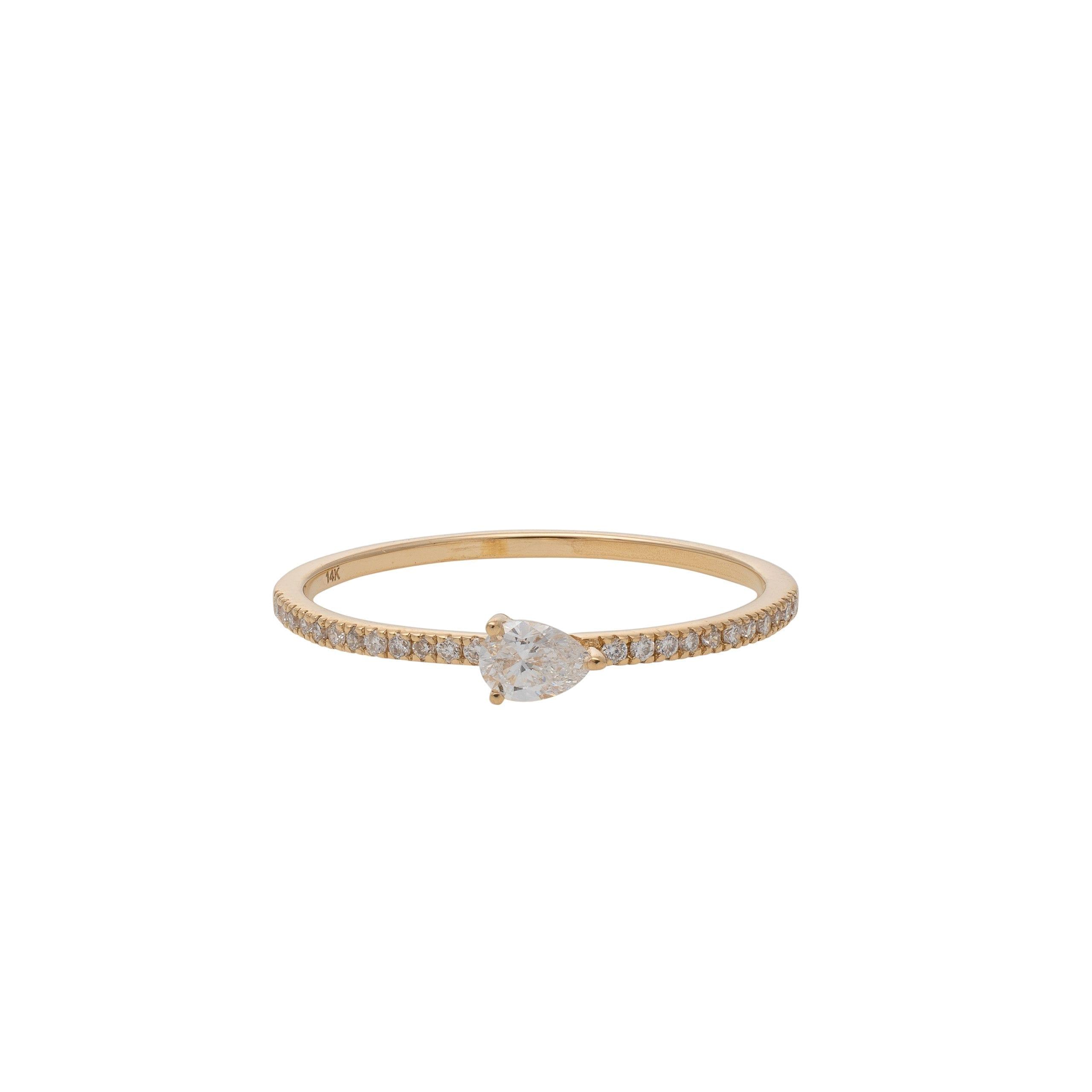 Diamond + Pear Horizontal Stacking Band Yellow Gold