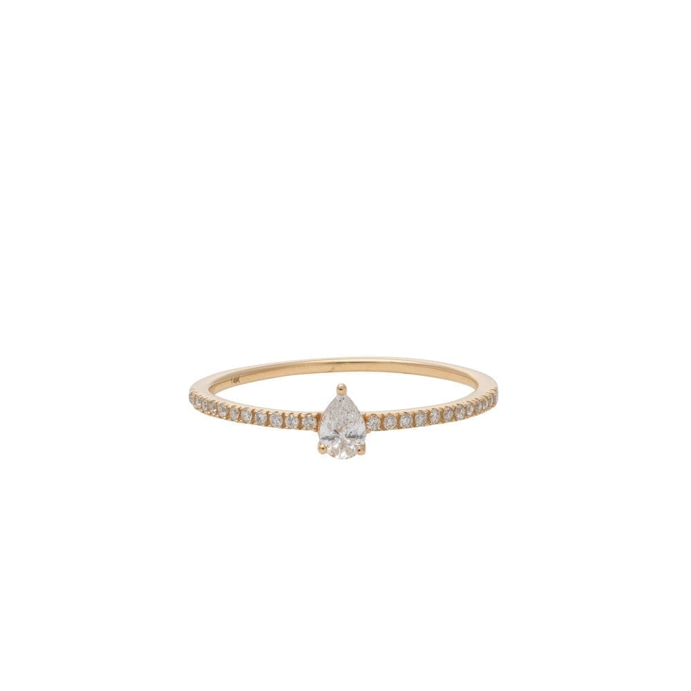 Diamond + Pear Stacking Band Yellow Gold