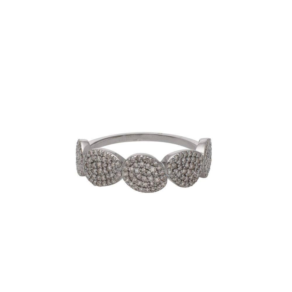 Diamond Pebble Ring Silver