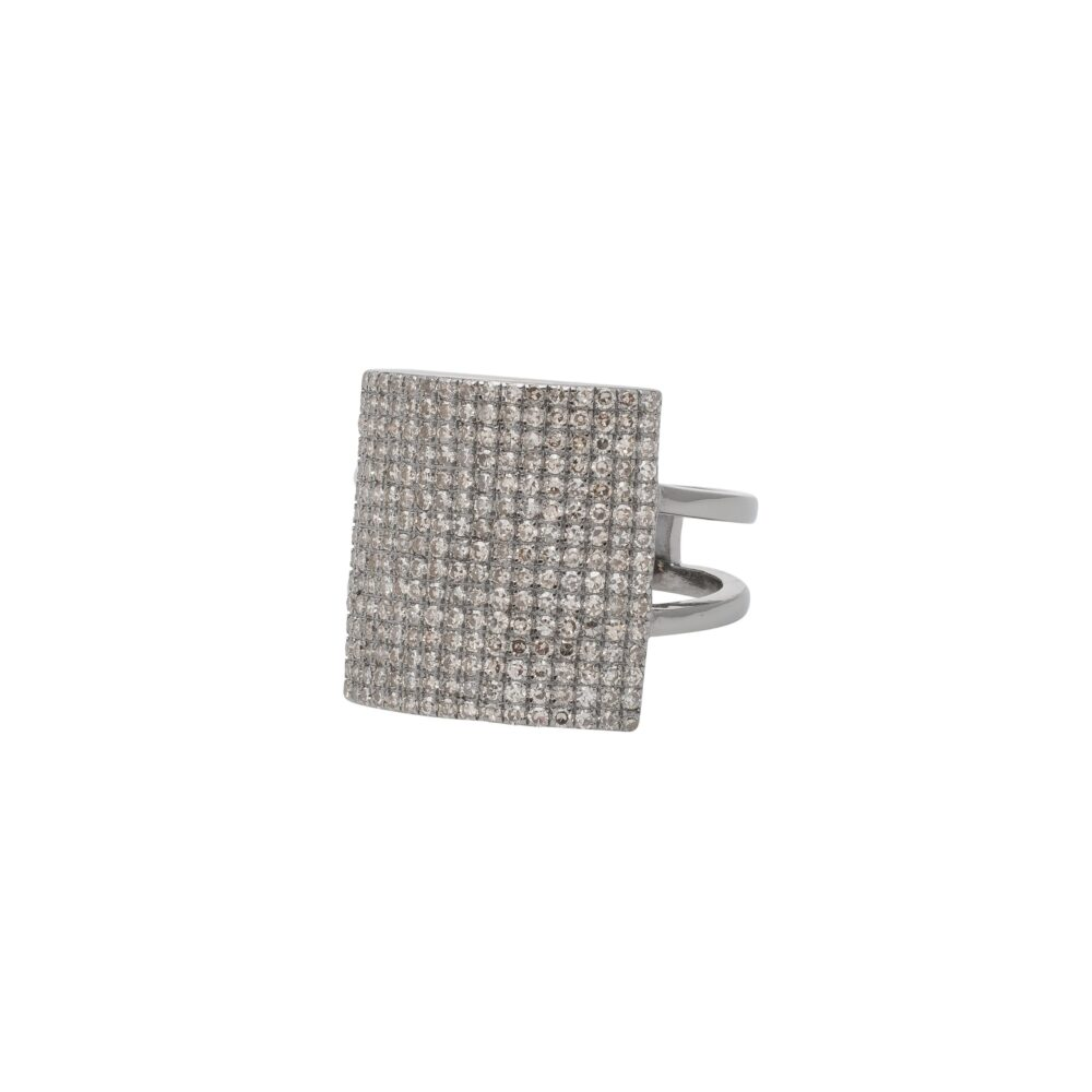 Diamond Square Statement Ring Silver