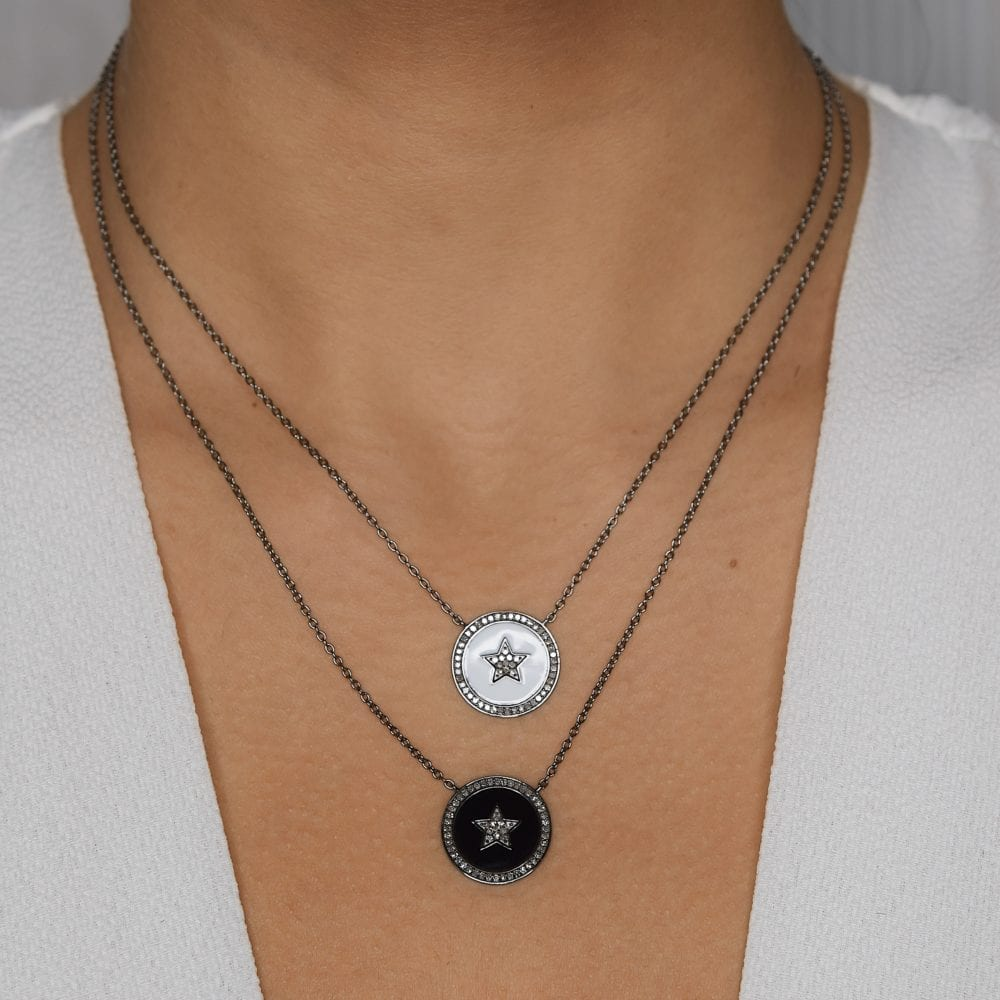 Diamond Star Black Enamel Disc Necklace