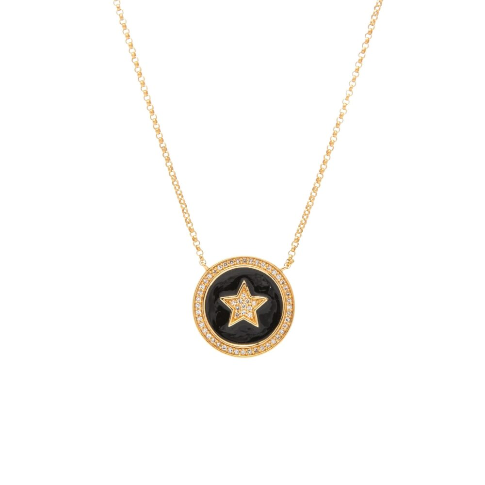 Diamond Star Black Enamel Disc Necklace Yellow Gold