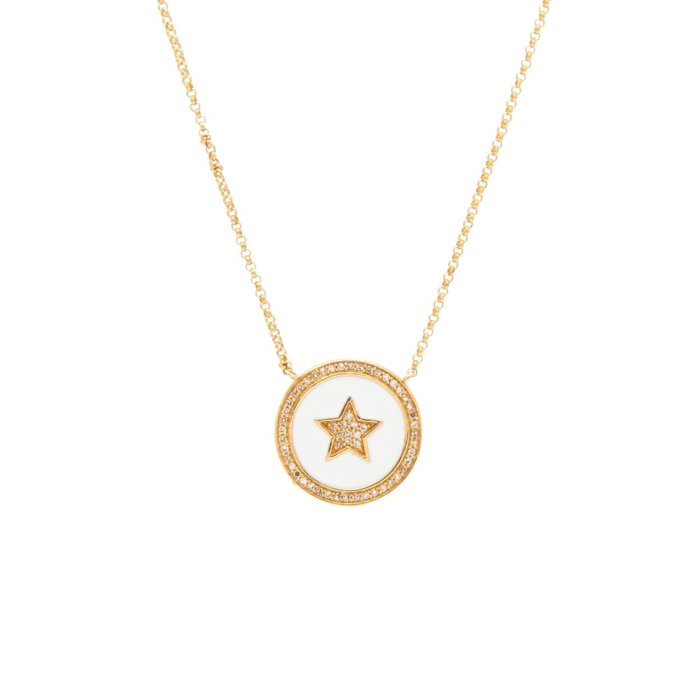Diamond Star White Enamel Disc Necklace Yellow Gold