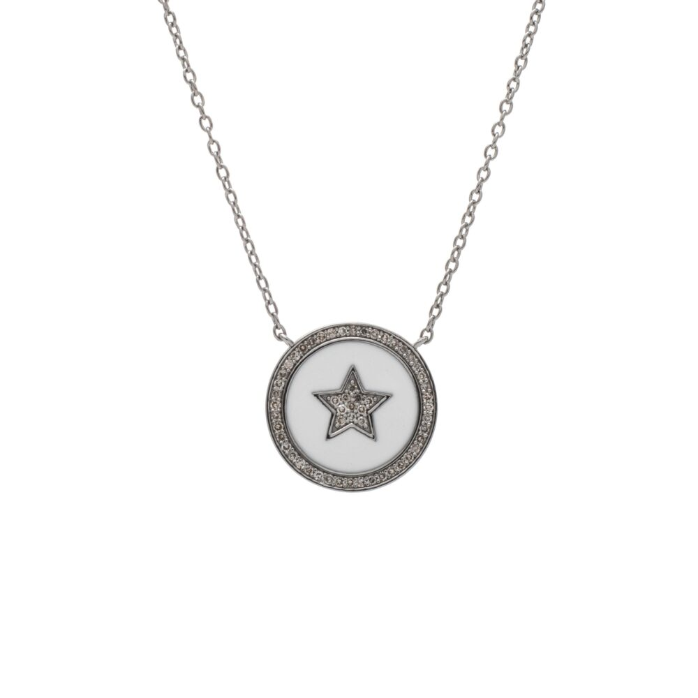 Diamond Star White Enamel Disc Necklace