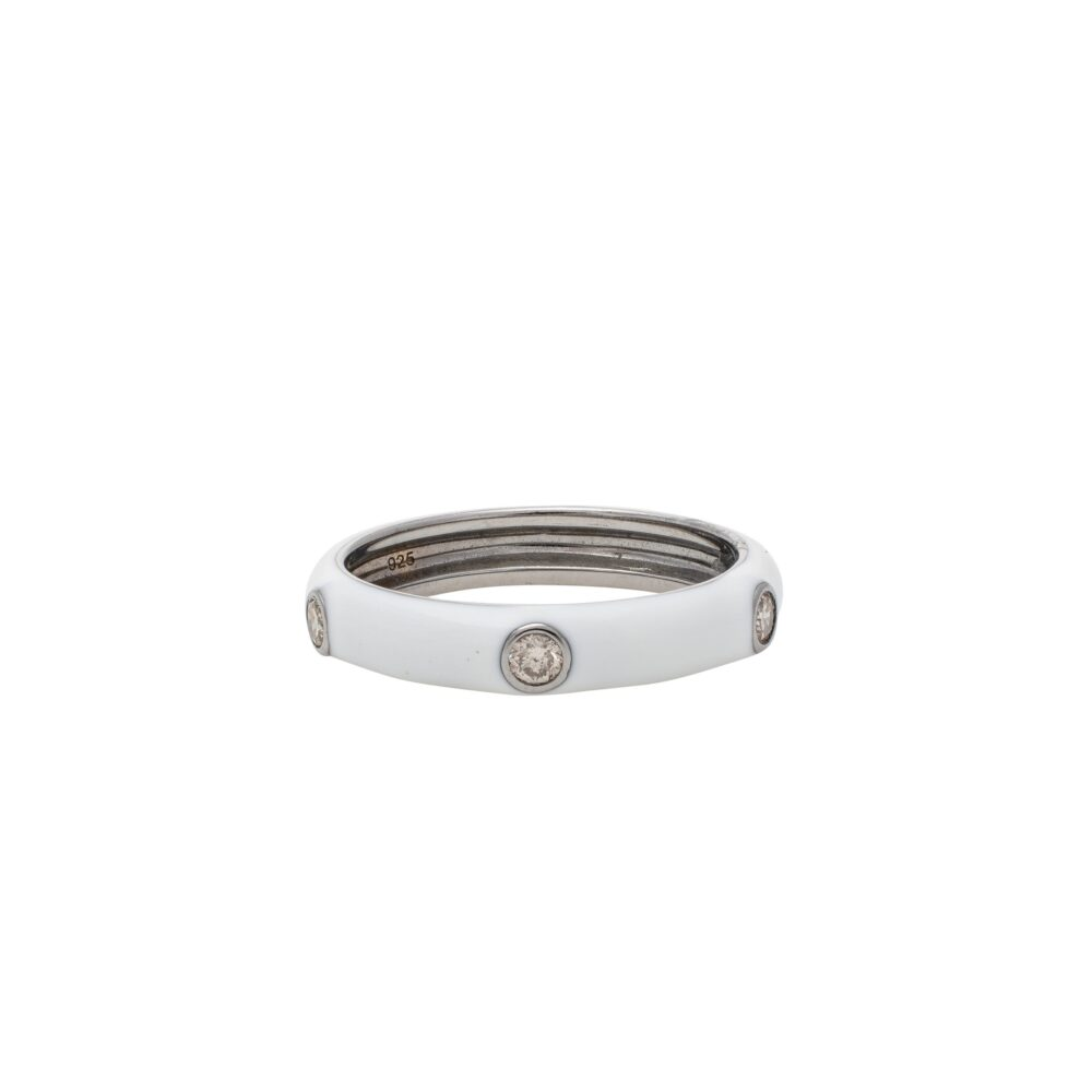 Diamond White Enamel Band