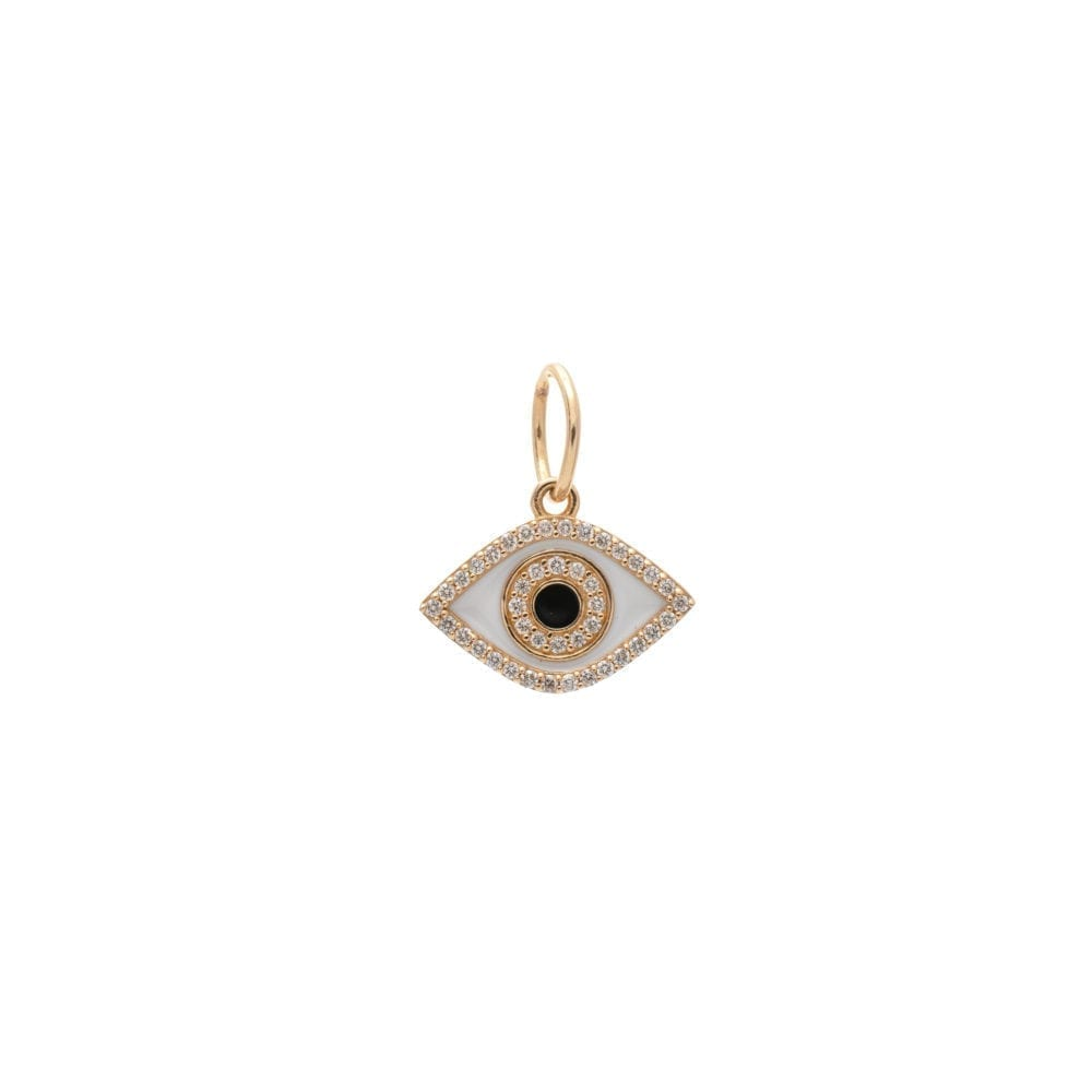 Diamond + White With Black Enamel Evil Eye Good Luck Charm Yellow Gold