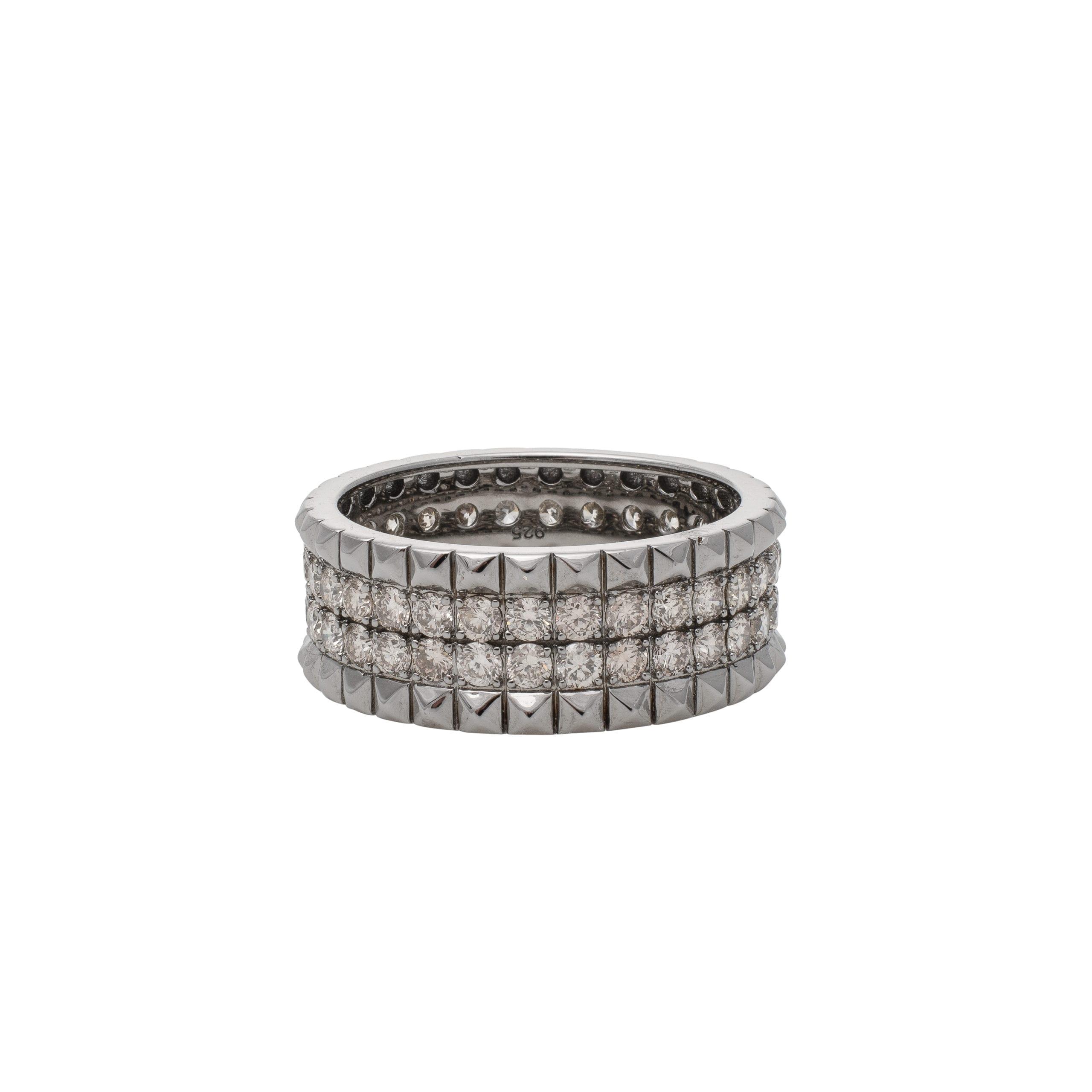 Diamond Wide Spike Band Silver