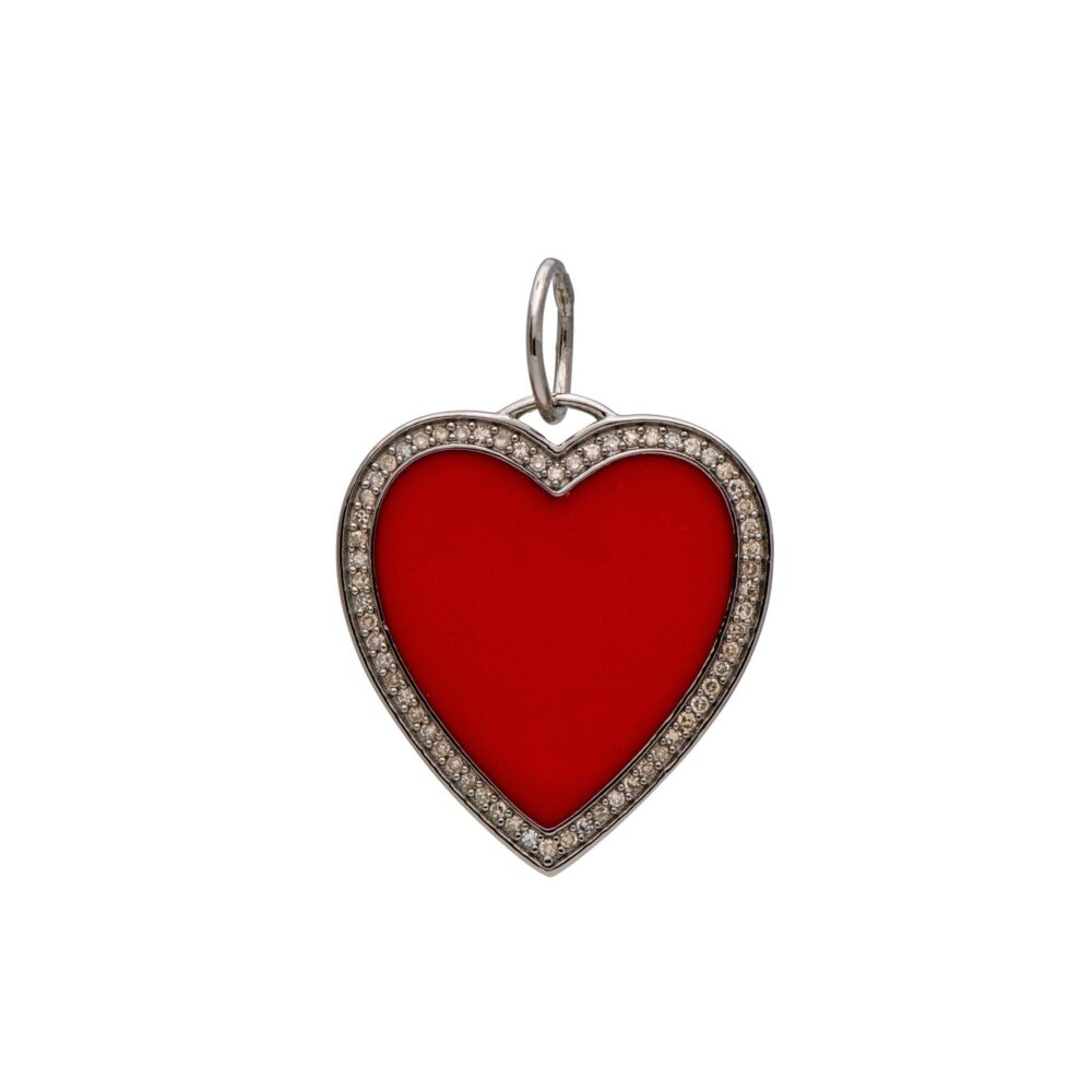 Large Red Enamel + Diamond Heart Charm