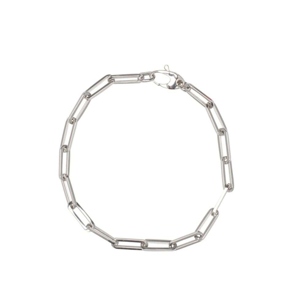 Small Chain Link Bracelet White Gold