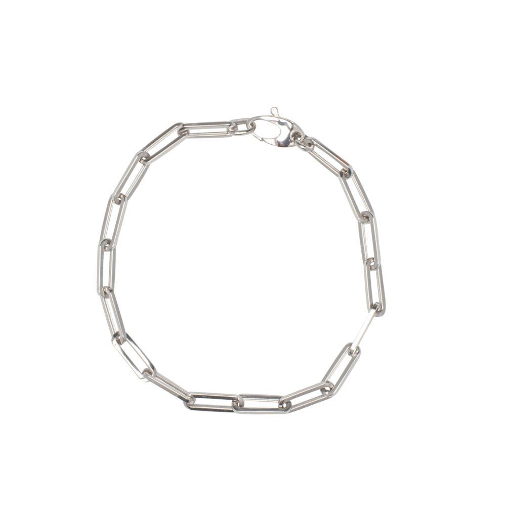 Small Chain Link Bracelet White Gold