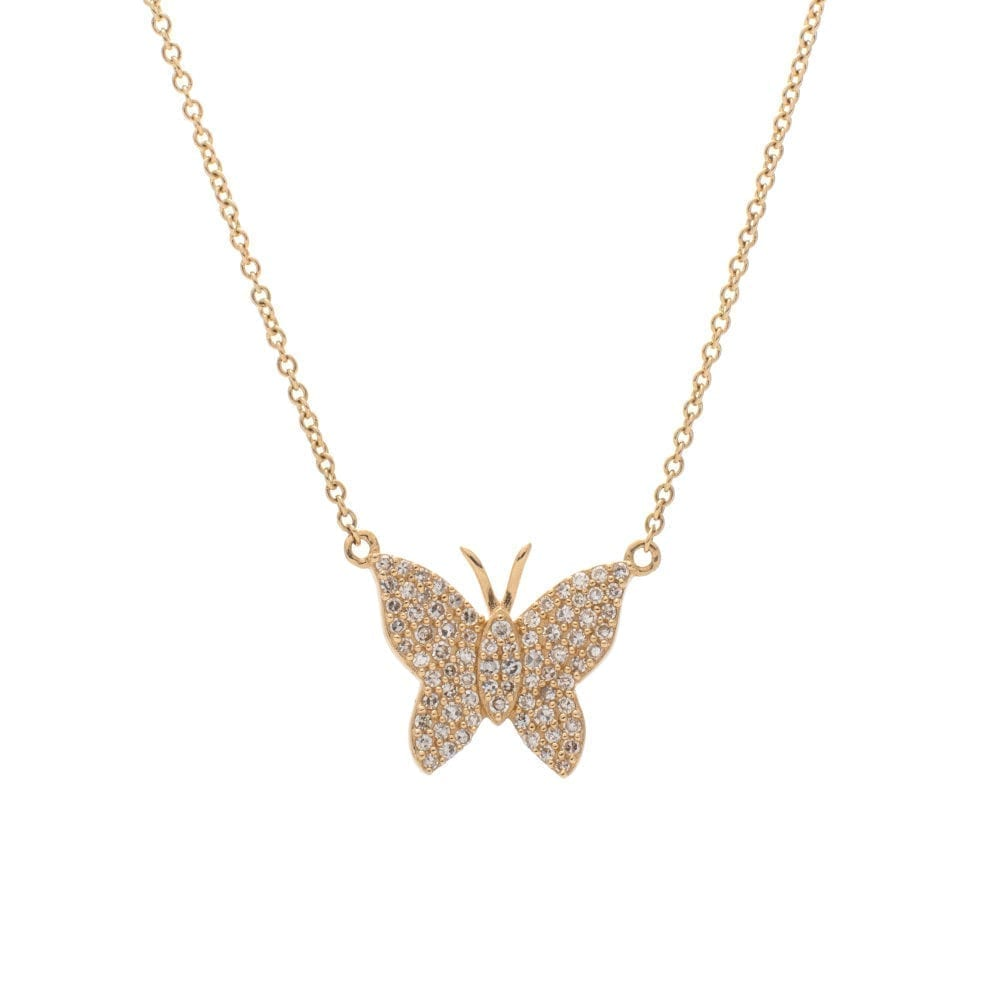 Medium Diamond Butterfly Necklace Yellow Gold