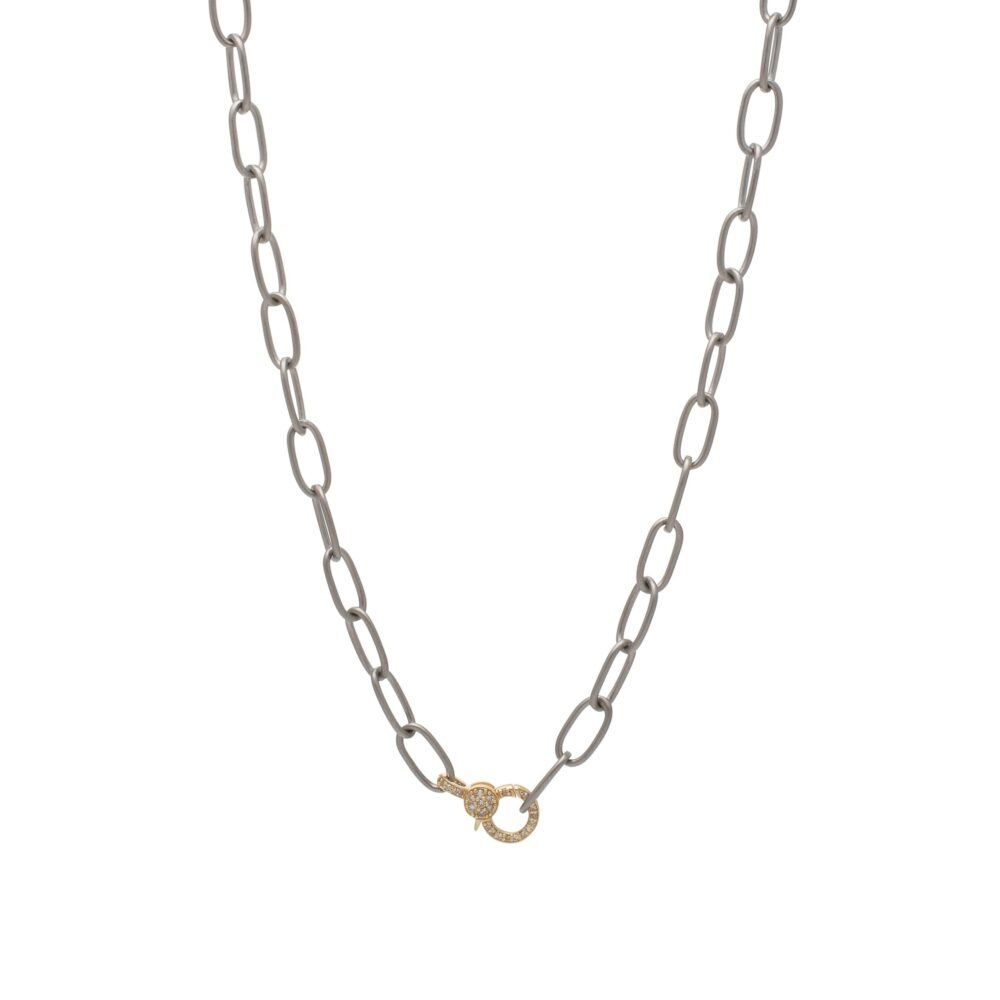 Mini Diamond 2-Sided Clasp Link Chain Necklace