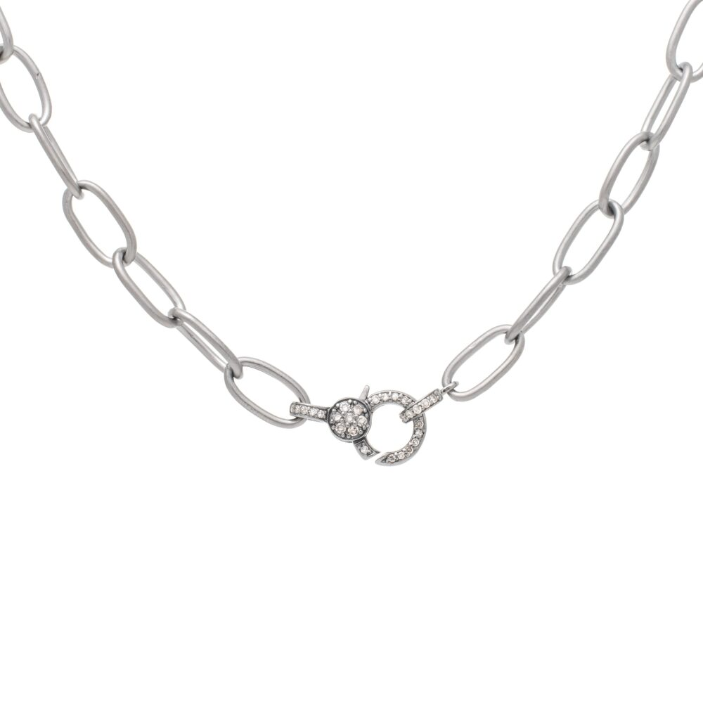 Mini Diamond 2-Sided Clasp Link Chain Necklace Sterling Silver