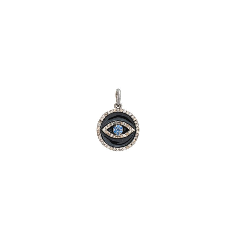 Mini Diamond Black Enamel Evil Eye with Sapphires Charm Sterling Silver