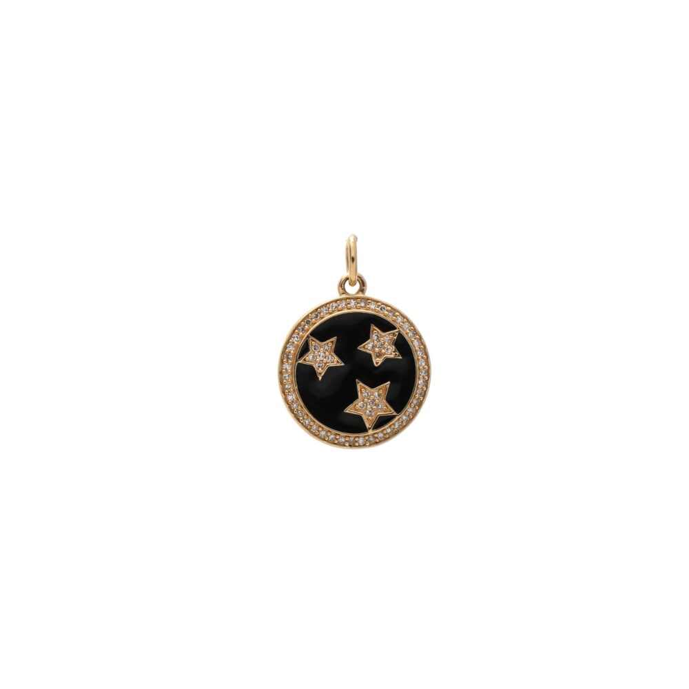 Mini Diamond + Black Enamel Stars Disc Charm Yellow Gold