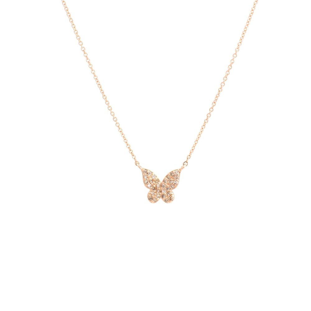 Mini Diamond Butterfly Necklace Rose Gold