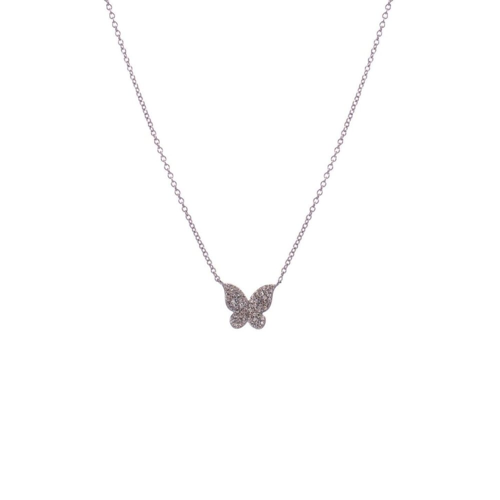 Mini Diamond Butterfly Necklace Sterling Silver