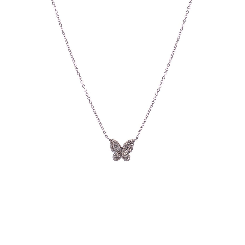 Mini Diamond Butterfly Necklace Sterling Silver