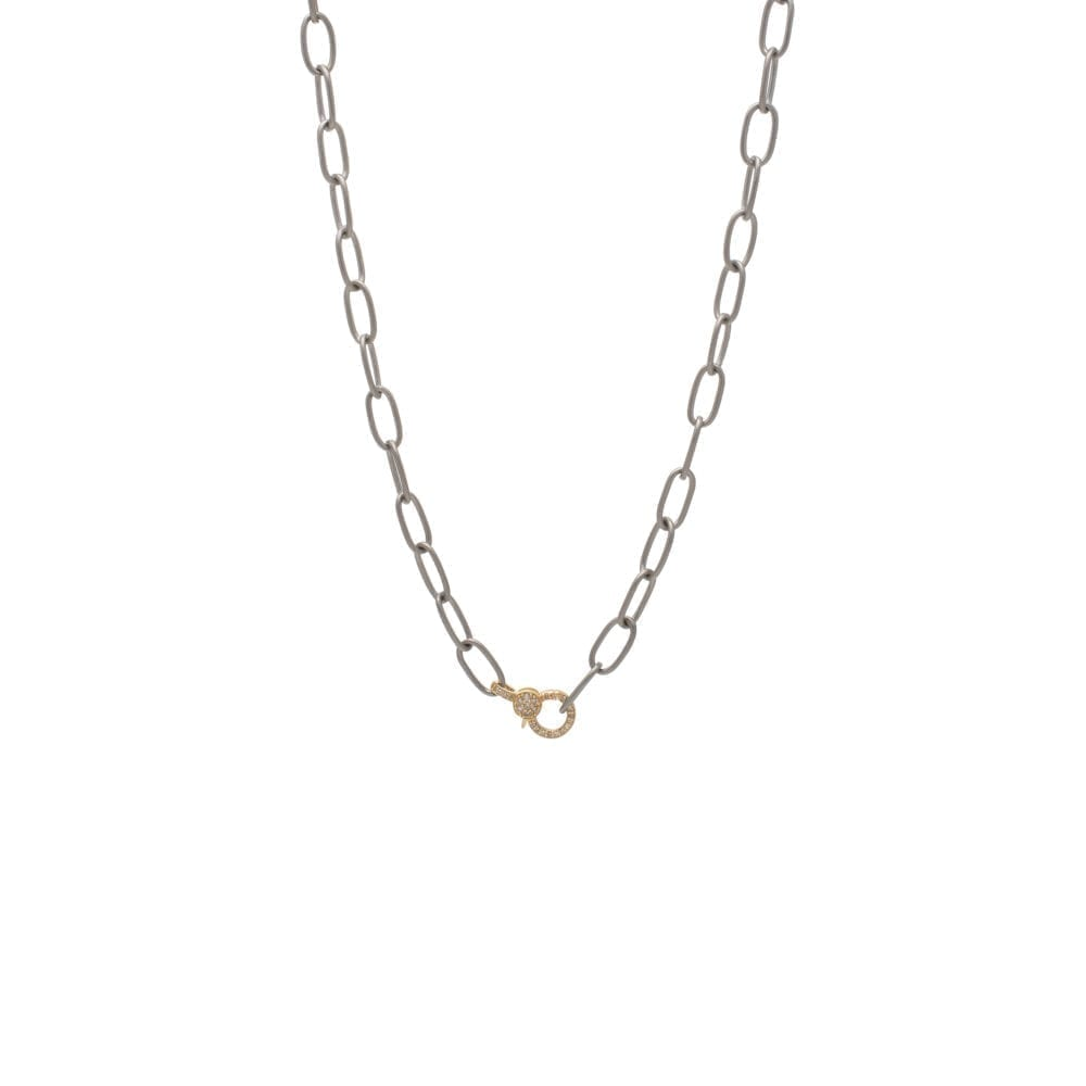 Mini Diamond Gold 2-Sided Clasp With Silver Chain Necklace
