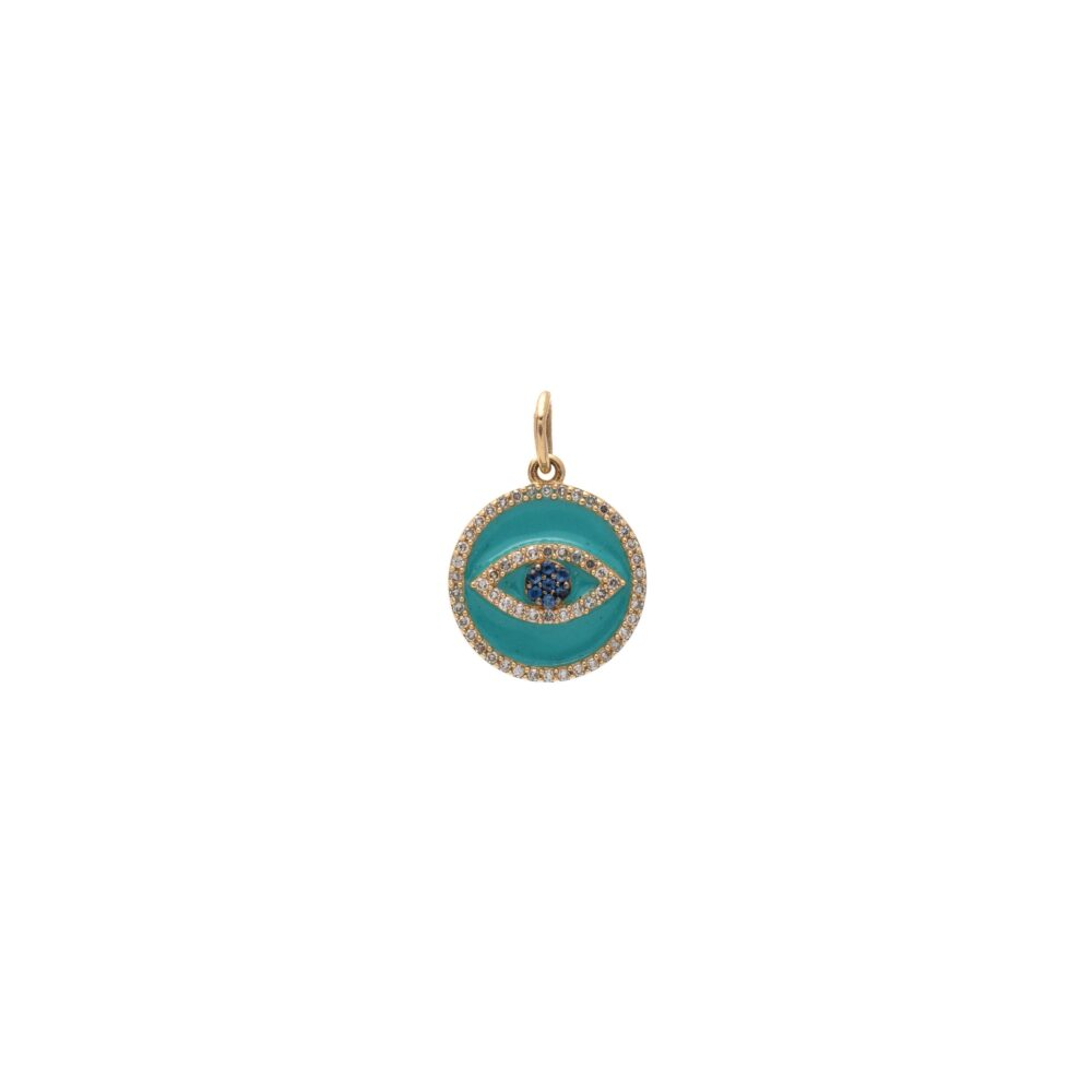 Mini Diamond Turquoise Enamel Evil Eye with Sapphires Charm Gold