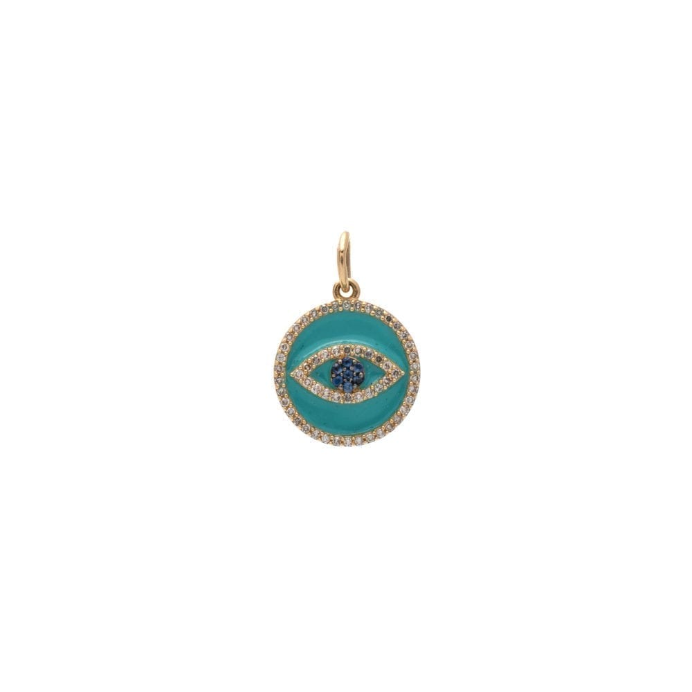 Mini Diamond + Turquoise Enamel Evil Eye with Sapphires Charm Yellow Gold