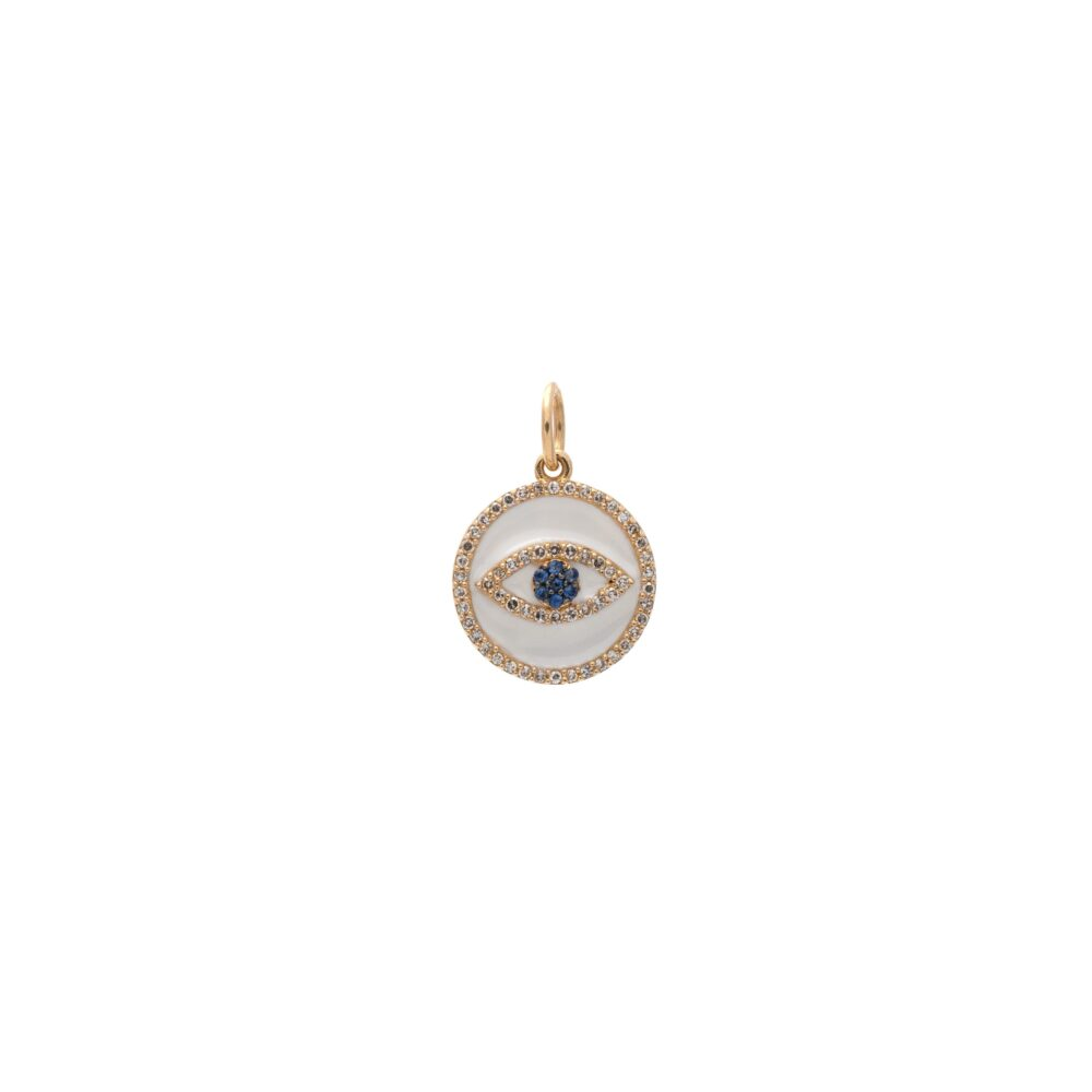 Mini Diamond White Enamel Evil Eye with Sapphires Charm Gold