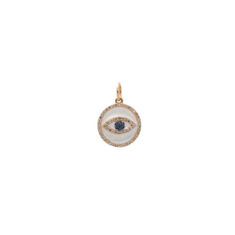 Mini Diamond White Enamel Evil Eye with Sapphires Charm Gold