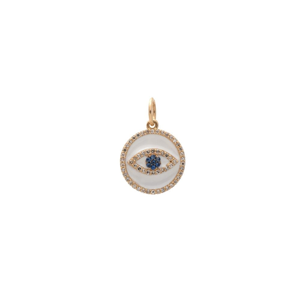 Mini Diamond + White Enamel Evil Eye with Sapphires Charm Yellow Gold