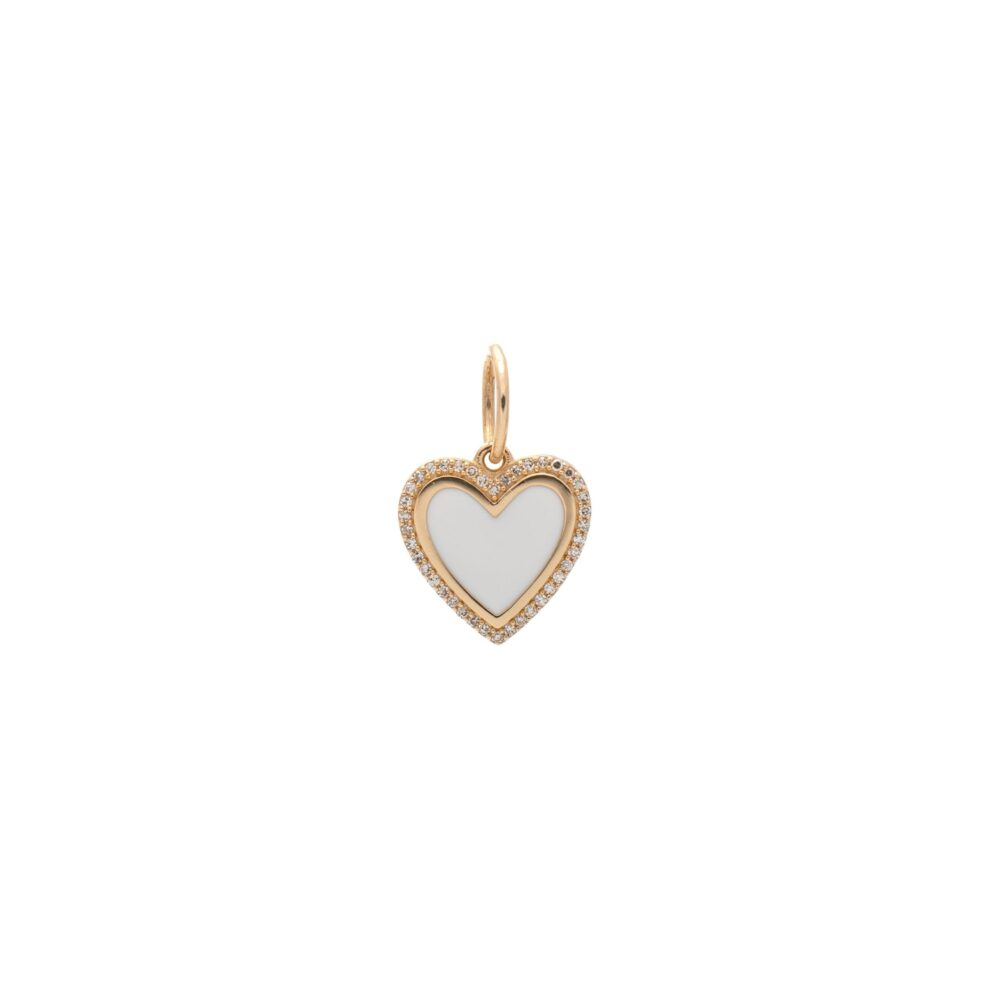 Mini Diamond + White Enamel Heart Charm Yellow Gold