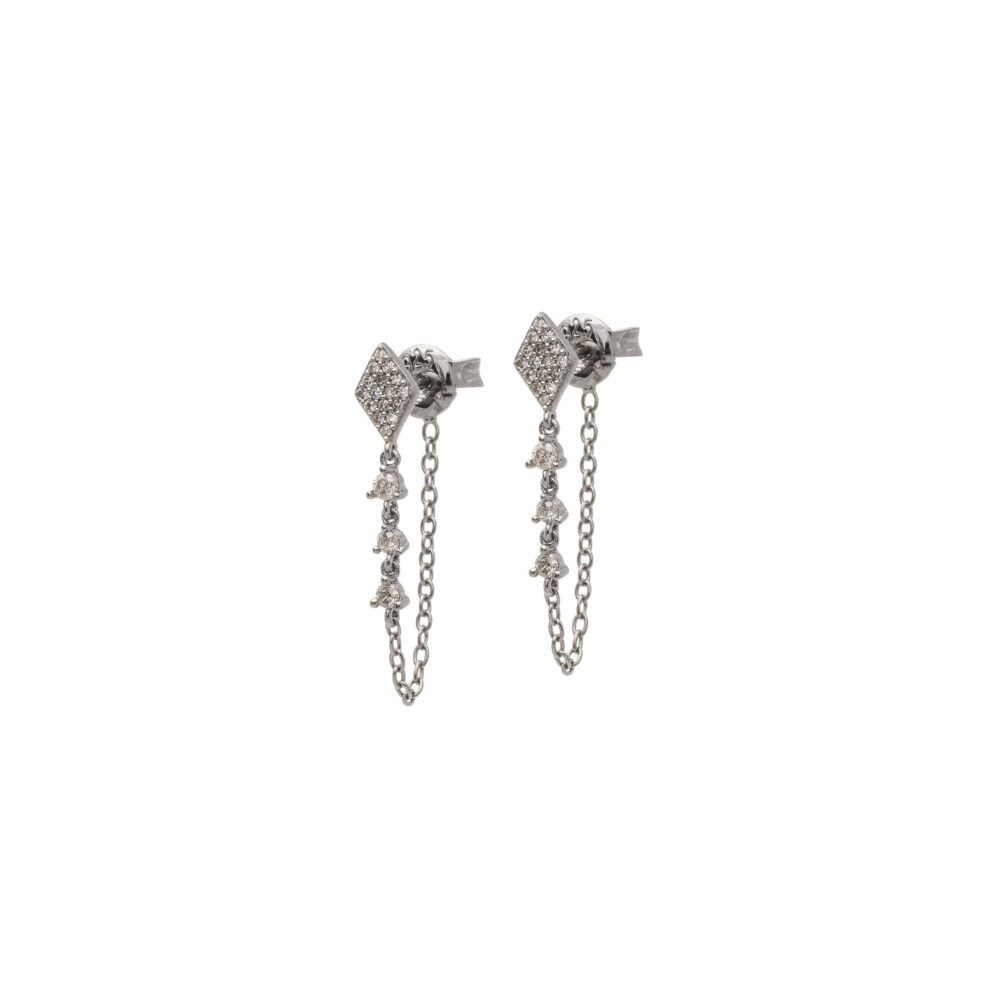Pave Diamond Drop Chain Earrings Sterling Silver