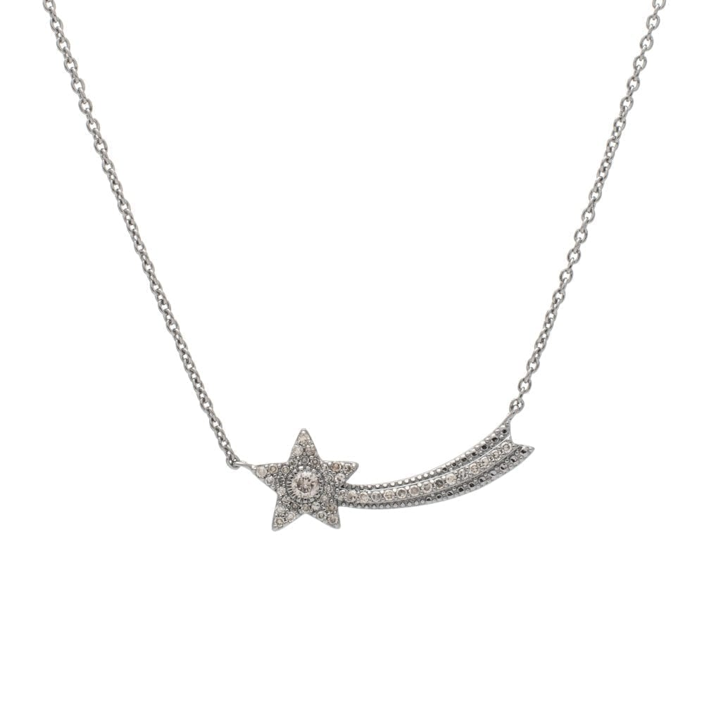 Shooting Star Diamond Necklace Sterling Silver