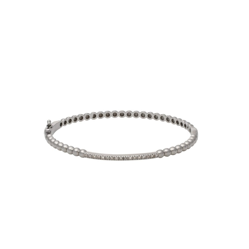 Single Diamond Bar Beaded Bangle Sterling Silver