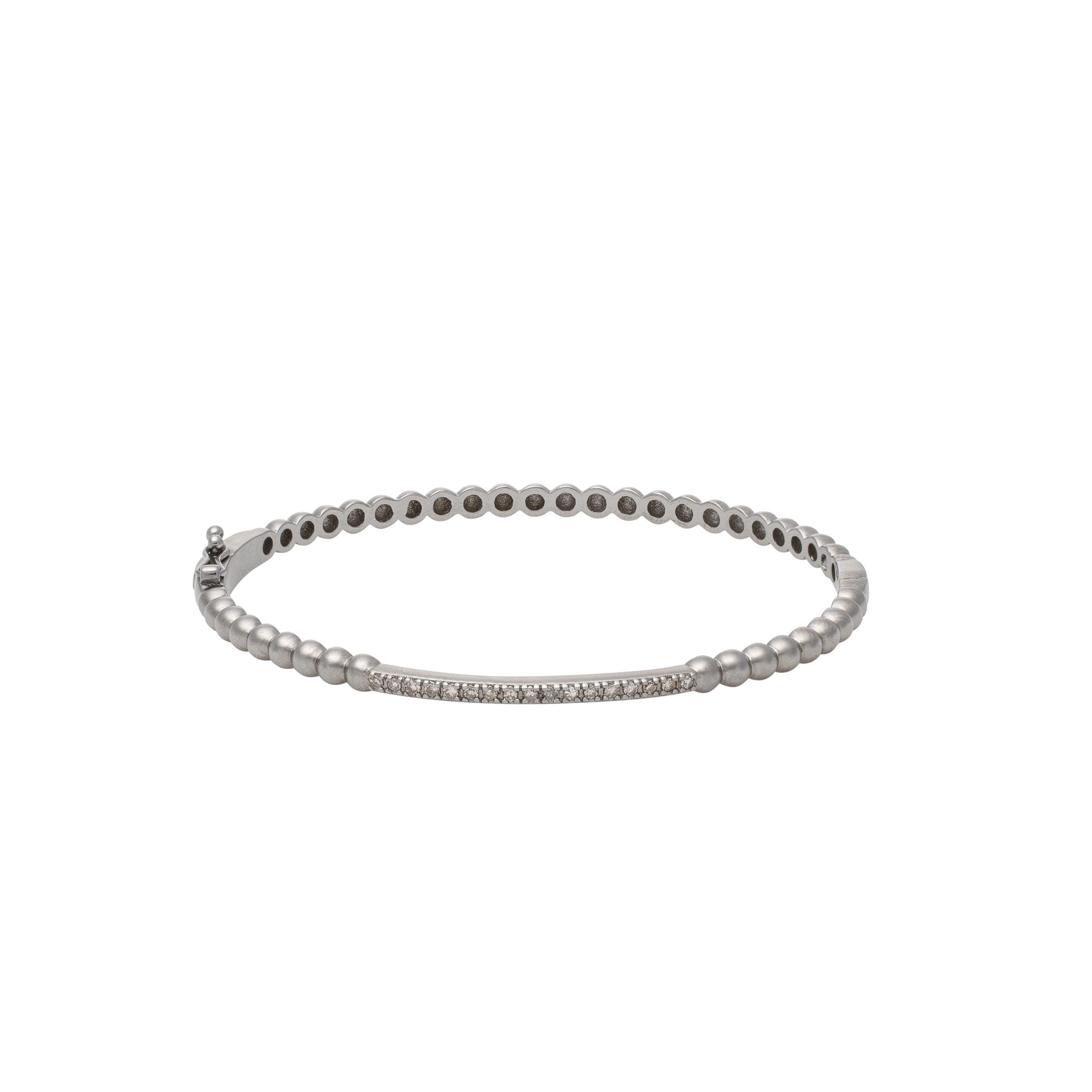 Single Diamond Bar Beaded Bangle Sterling Silver