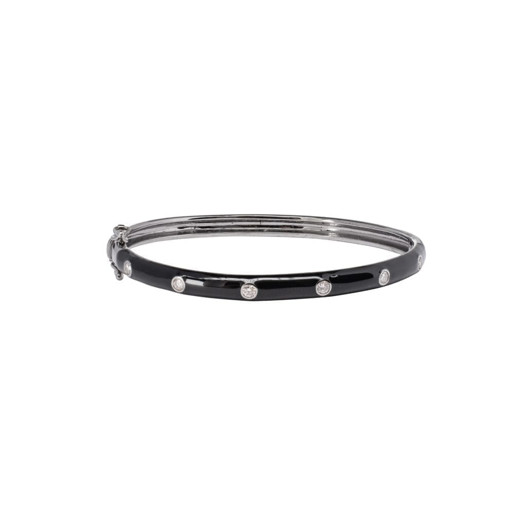 Skinny Black Enamel Diamond Bangle