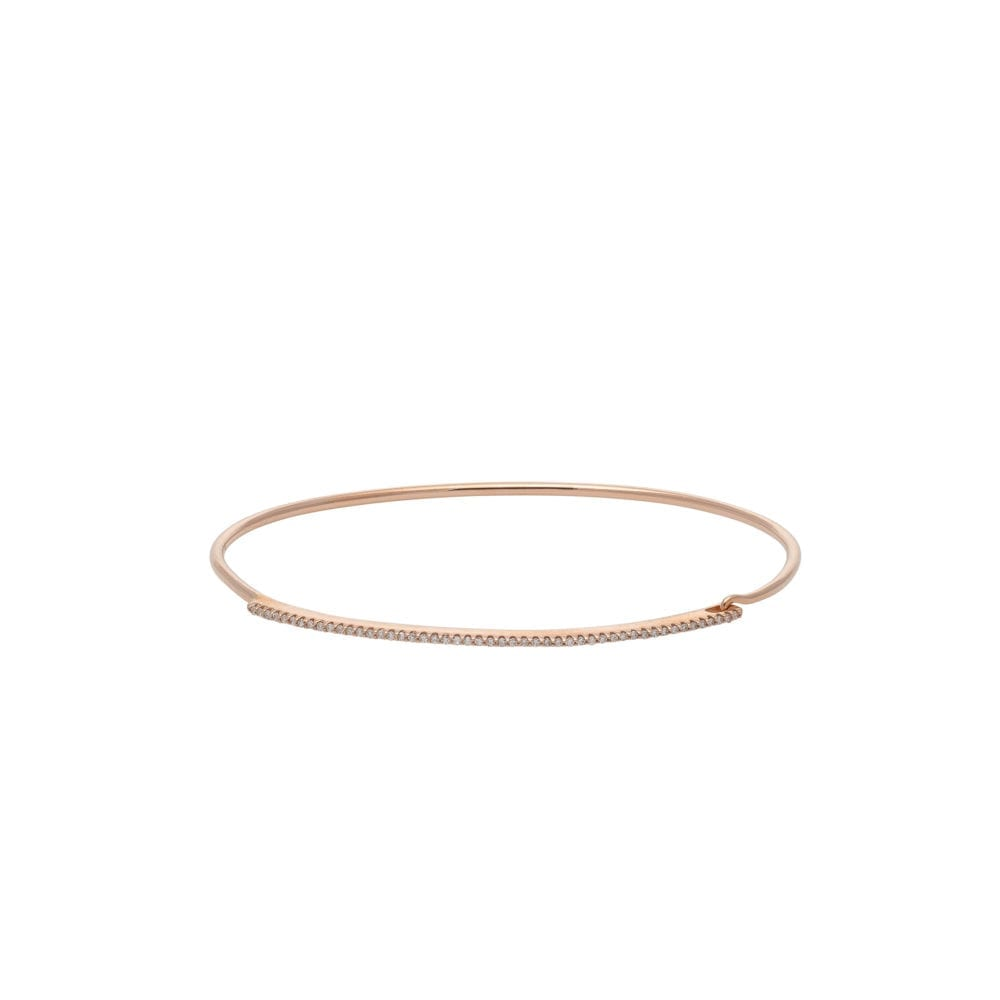 Skinny Diamond Bar Wire Bracelet Rose Gold