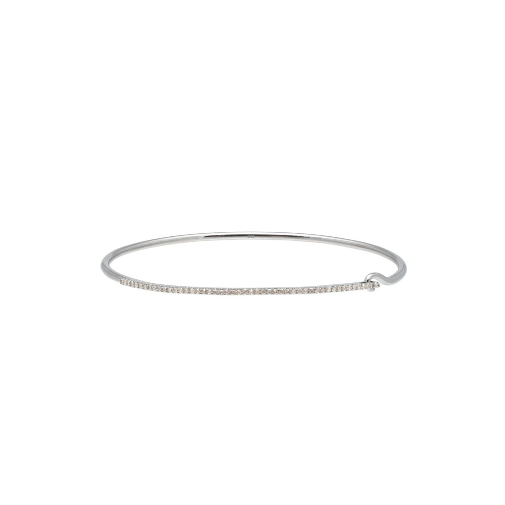 Skinny Diamond Bar Wire Bracelet Sterling Silver