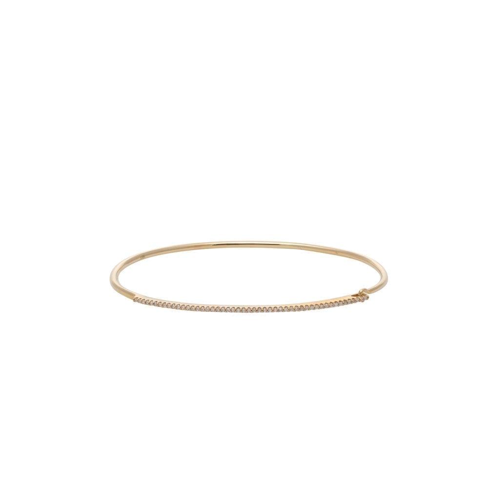 Skinny Diamond Bar Wire Bracelet Yellow Gold