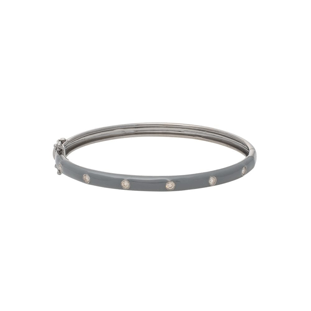 Skinny Gray Enamel Diamond Bangle