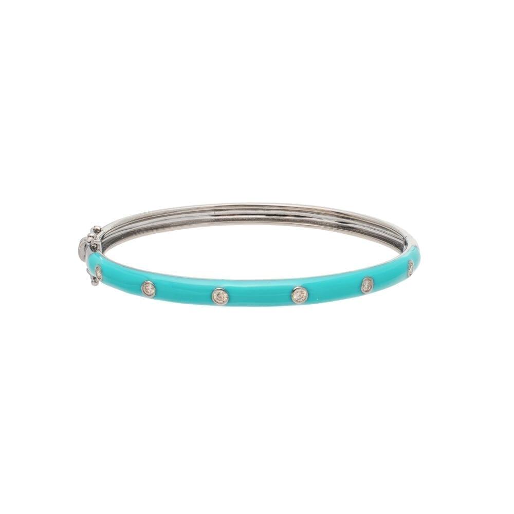 Skinny Turquoise Enamel Diamond Bangle Sterling Silver