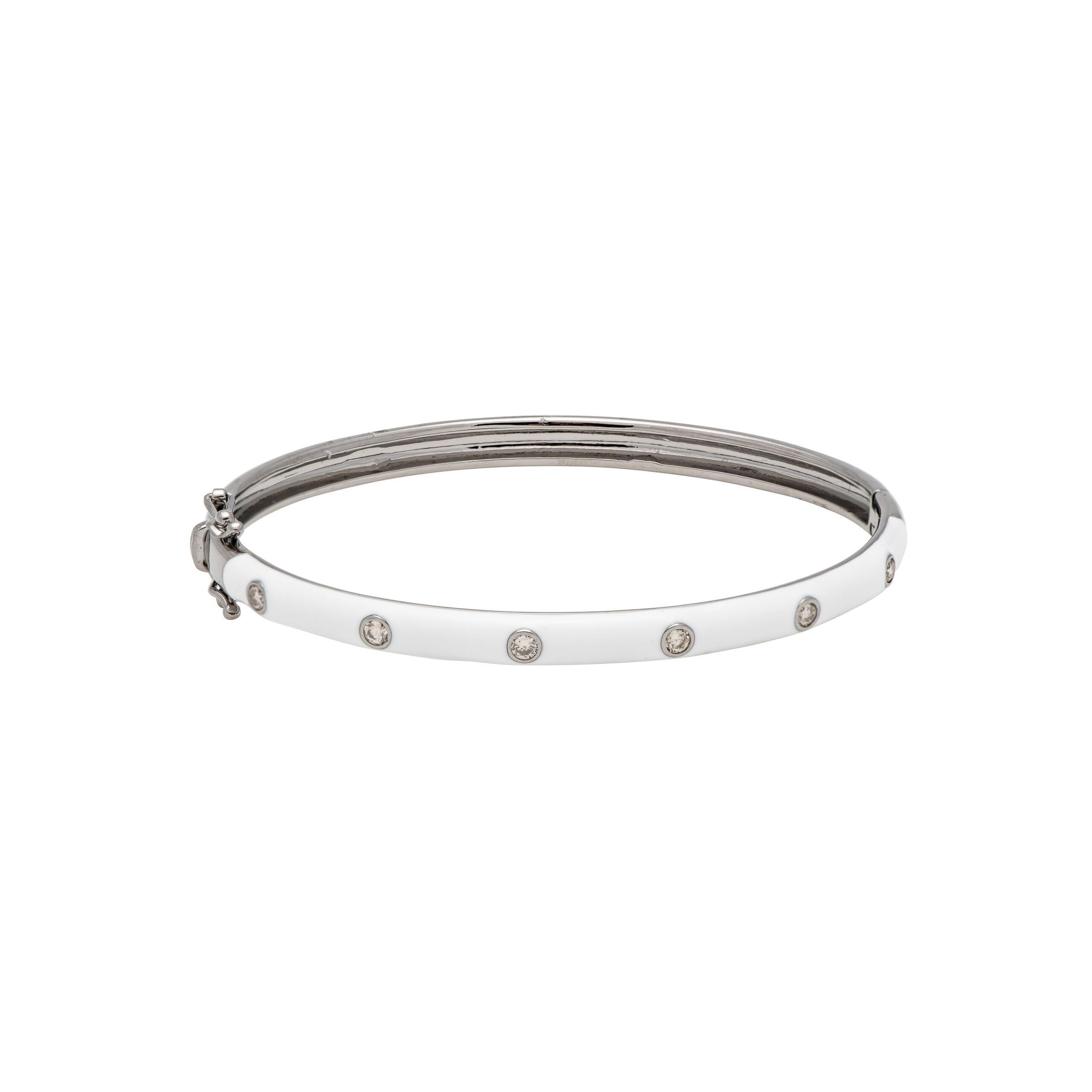 Skinny White Enamel Diamond Bangle Sterling Silver