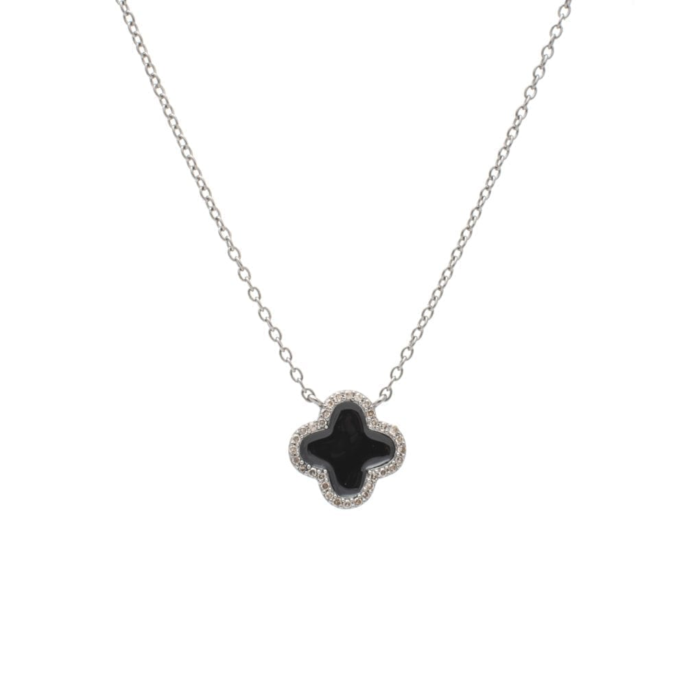 Diamond Mini Black Enamel Clover Necklace