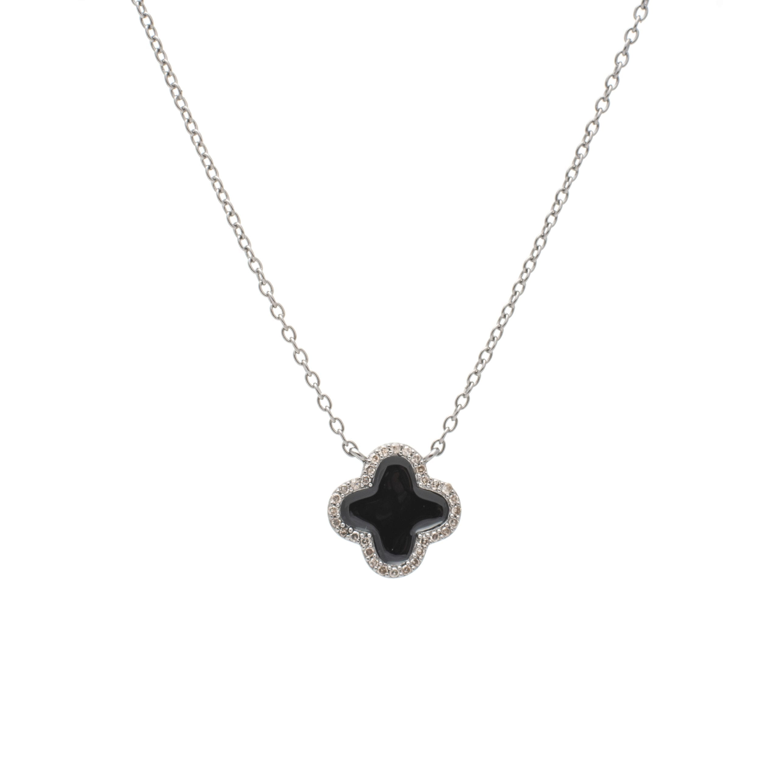 Diamond Mini Black Enamel Clover Necklace