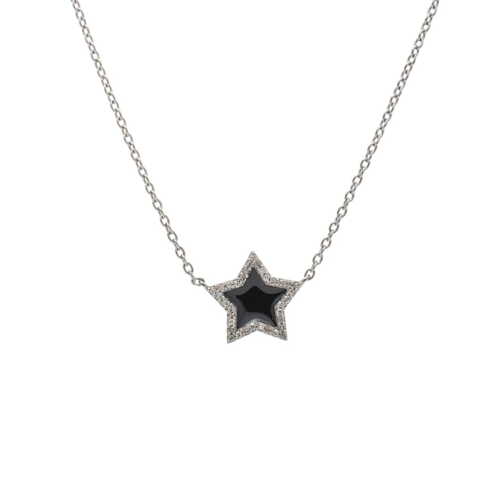 Diamond Mini Black Enamel Star Necklace