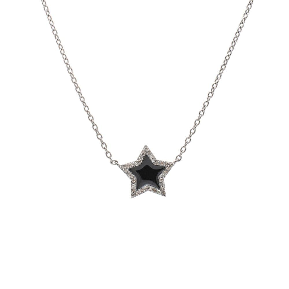 Diamond Mini Black Enamel Star Necklace