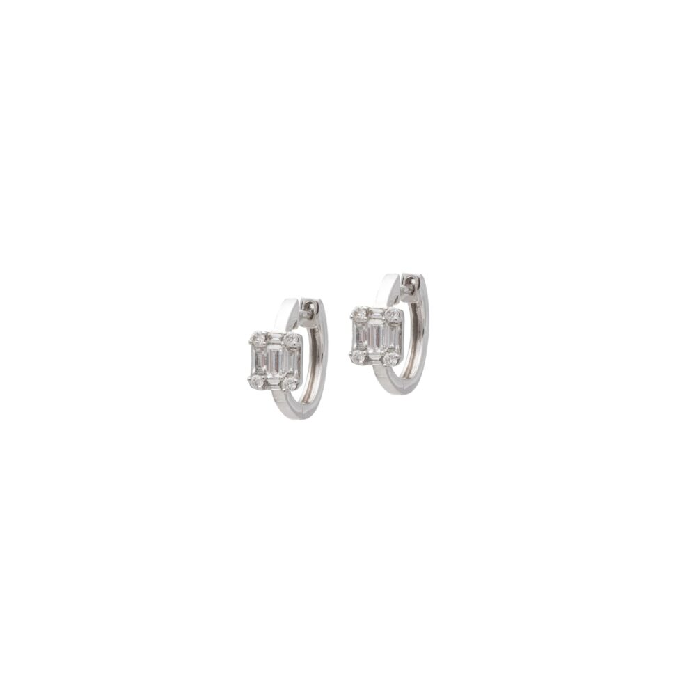 Diamond Square Baguette Huggie Earrings White Gold