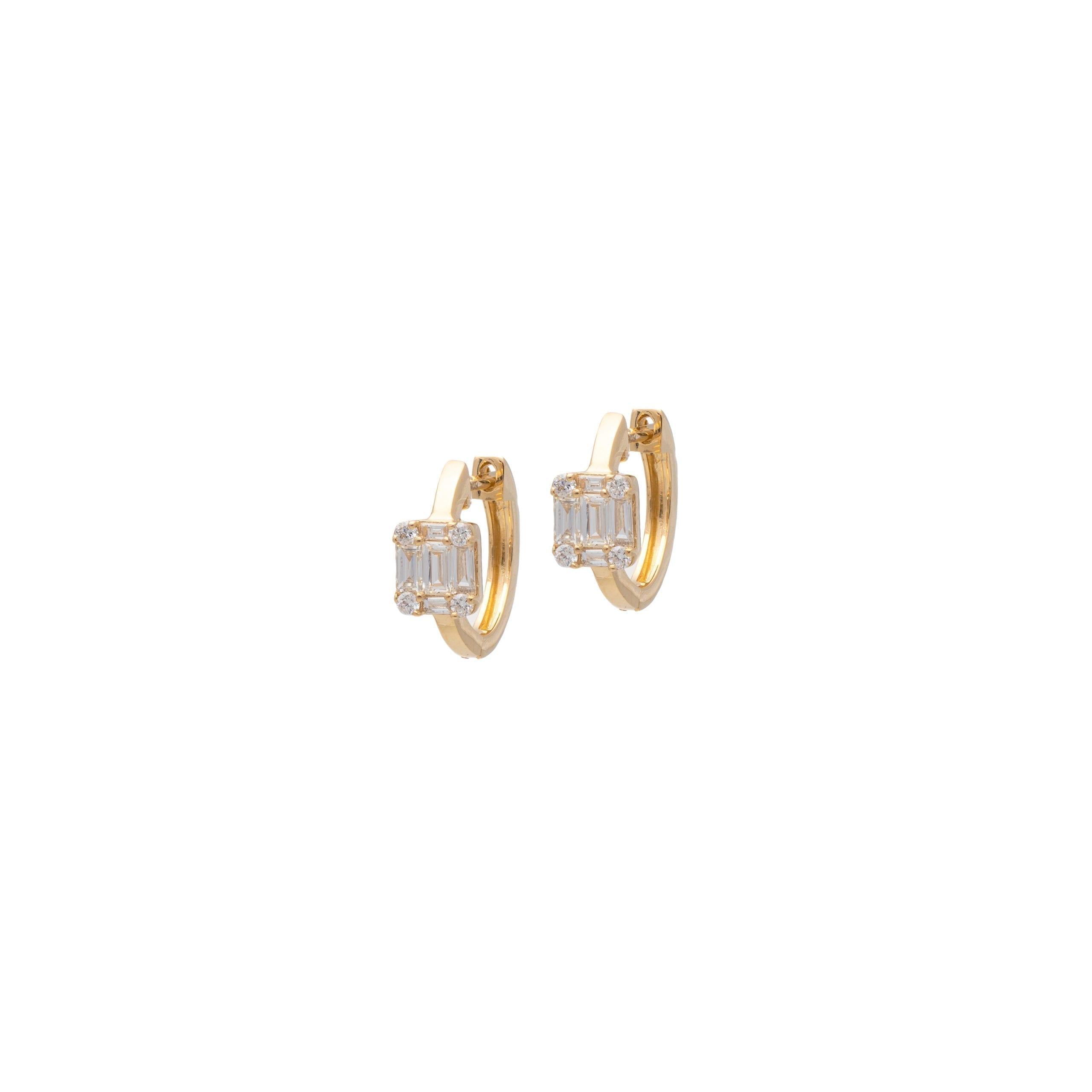 Diamond Square Baguette Huggie Earrings Yellow Gold