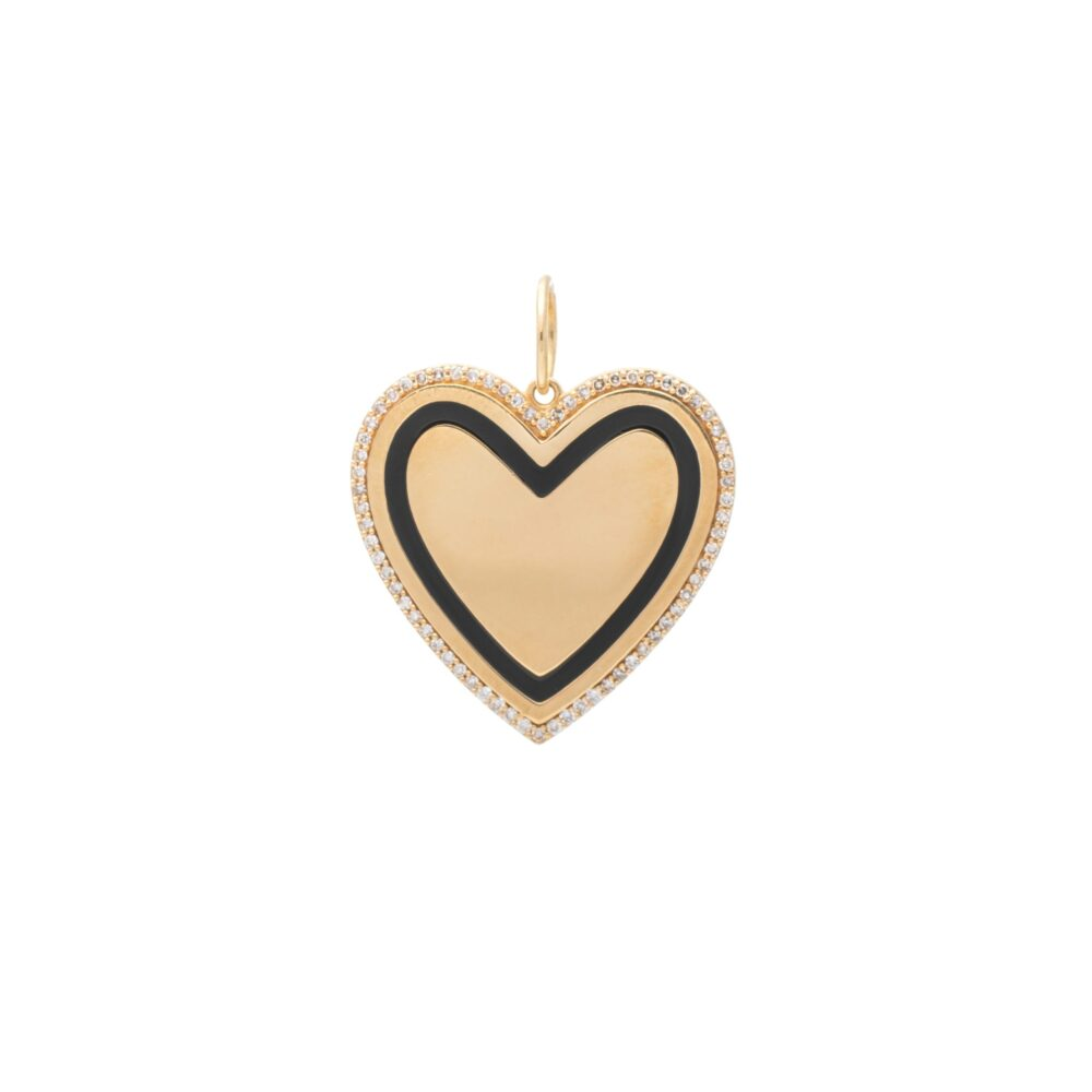 Gold Diamond + Black Enamel Heart Pendant
