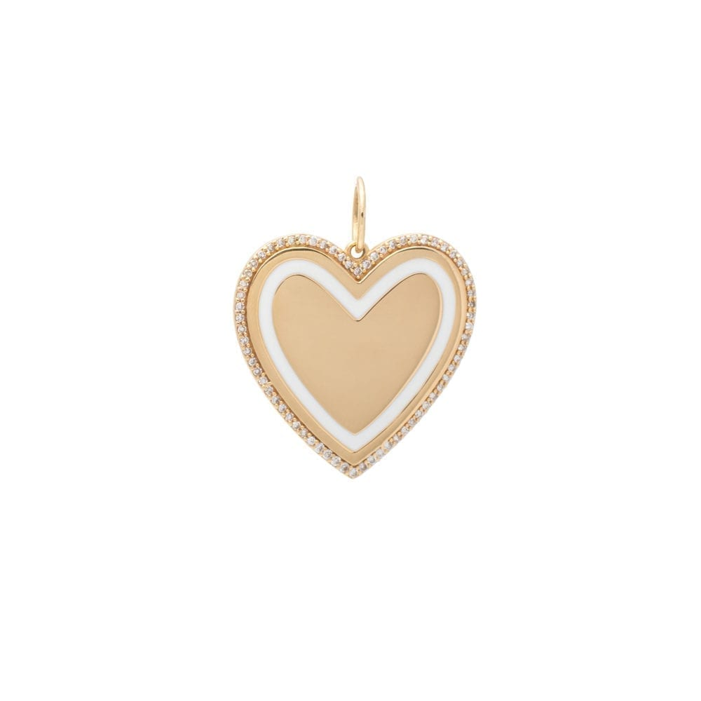 Gold Diamond + White Enamel Heart Pendant