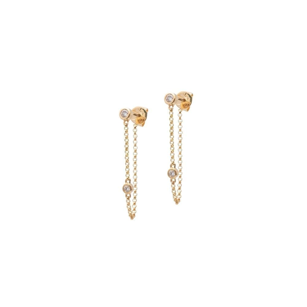 Mini Bezel Diamond-By-The-Yard Chain Drop Earrings Yellow Gold